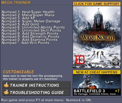 5825926568543 The Lord of the Rings: War in the North +11 Trainer